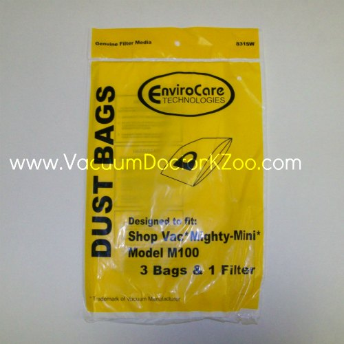 Shop Vac Bag Type Mighty Mini M100 - 3 pck + 1 fltr - Generic